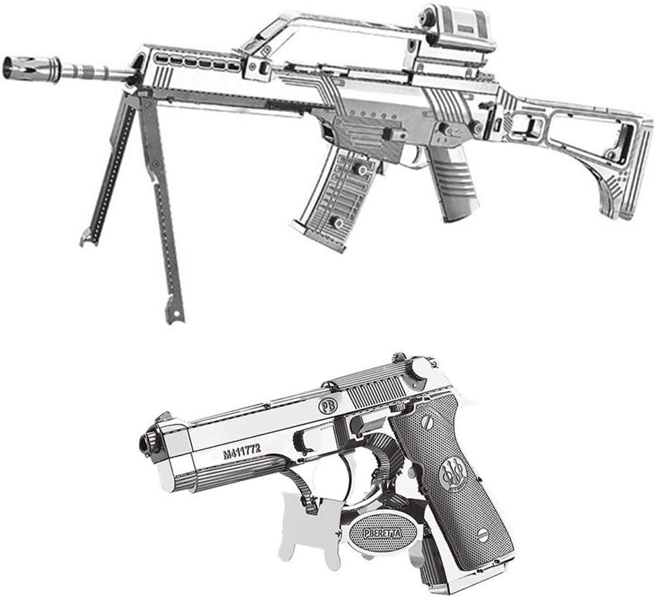 Kreekr 3D Metal Puzzle DIY Juguetes educativos G36 Rifle + Beretta 92 Modelo de Pistola para Niños y Adultos Set de 2pcs