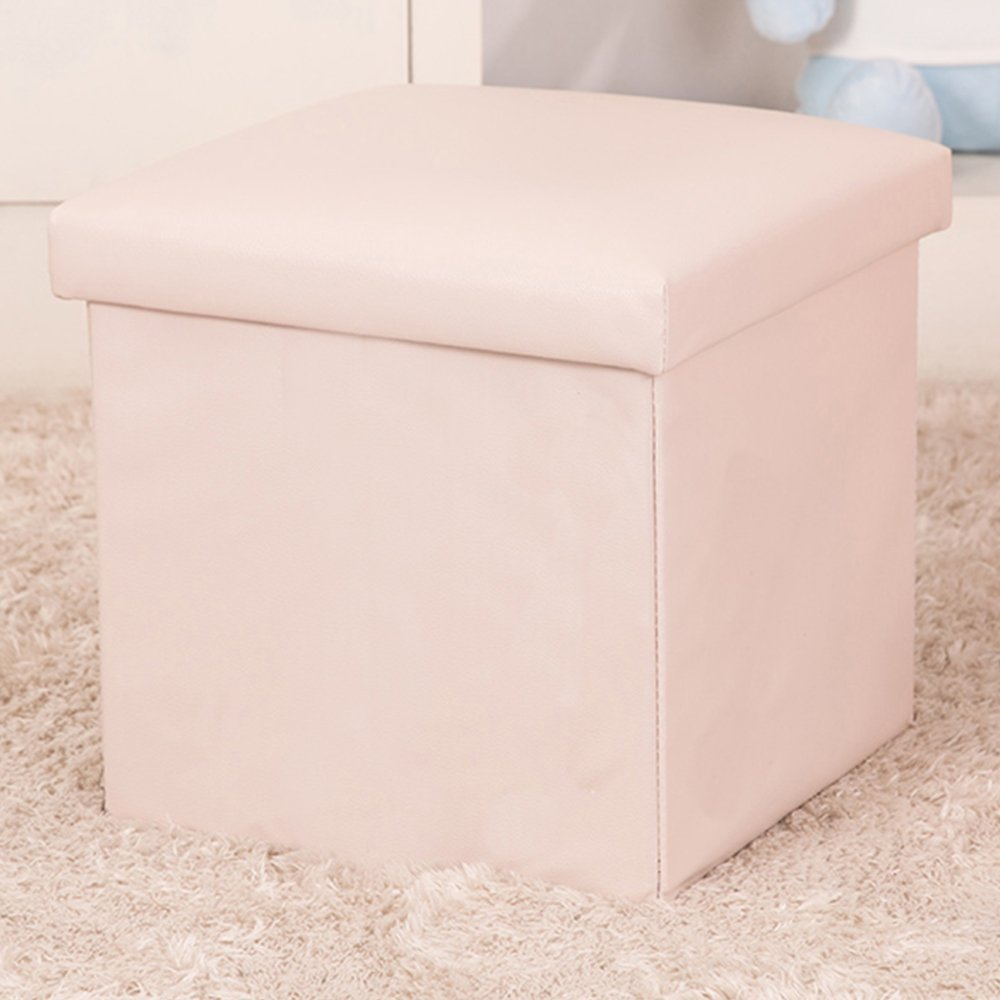 WER Faux Leather Folding Storage Ottoman Cube Foot Rest Stool Seat 12''x 12''x 12''(White)
