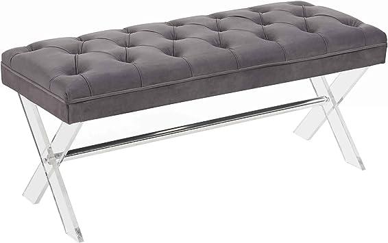 Amazon Com Benjara Button Tufted Fabric Ottoman Bench With X Shaped Acrylic Legs Gray Furniture Decor