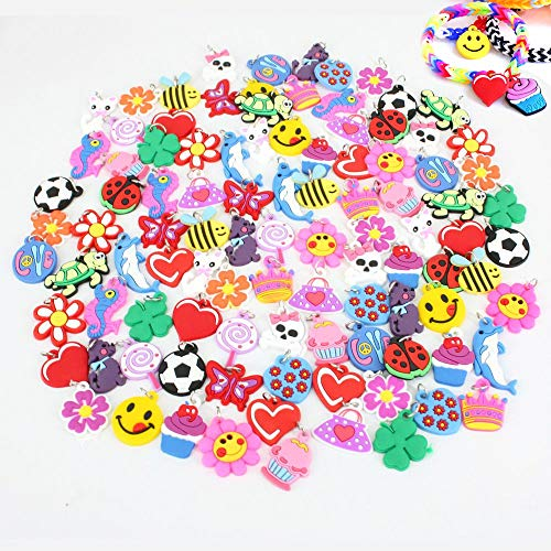 Plastic Charm Bracelets (PARK AVE 100 Silicone Charms - Variety Pack - Compatible with All Common Bracelet Rubber Band Loom Kits - Colorful Assorted Designs for Childrens' Jewelry, Arts & Crafts, Party Favor)