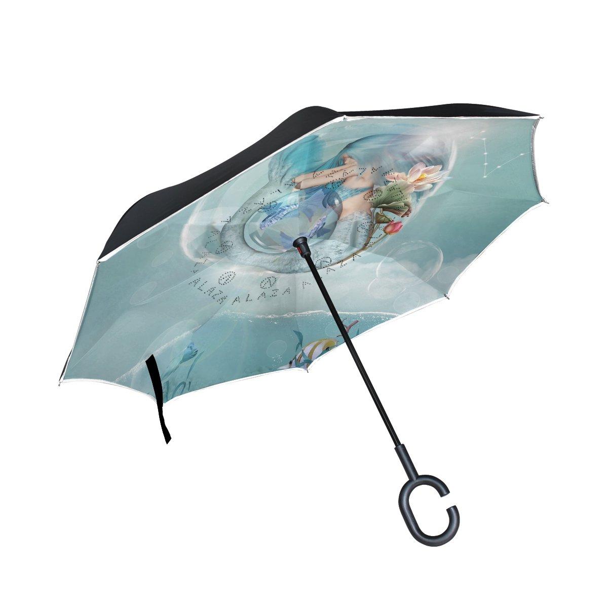 Alaza Orezi星座シリーズうお座Inverted傘二層構造防風UV保護ストレート自立型逆傘C型の車の雨アウトドア旅行   B07DGYBX64