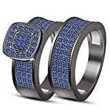 TVS-JEWELS Engagement Ring Wedding Band Set With Black Rhodium Plated 925 Sterling Silver Blue Stone (11.25)