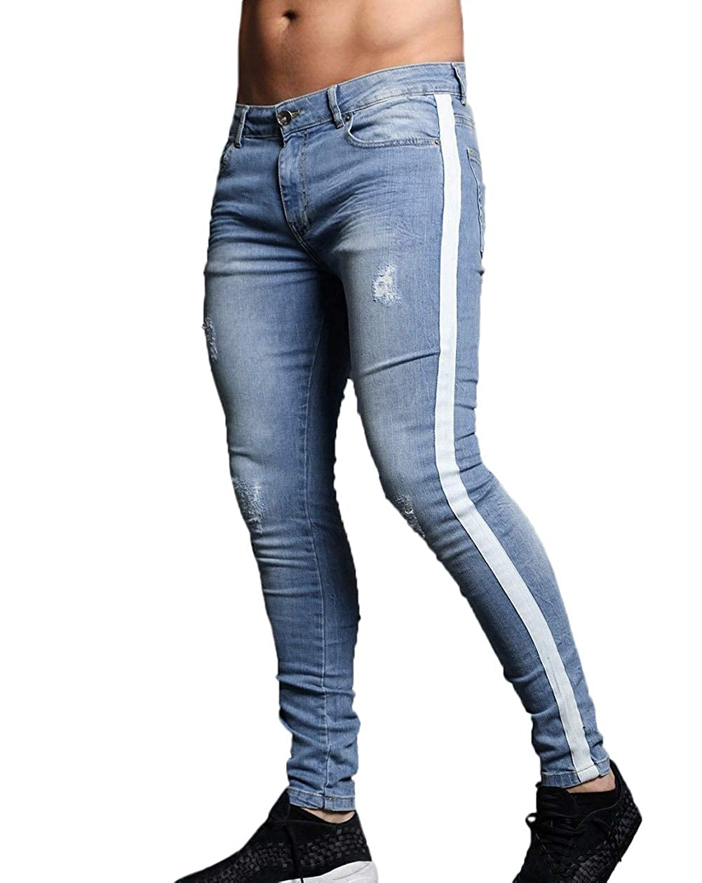 91625d25272f39 XARAZA Men's Skinny Slim Fit Stretch Jeans Denim Pencil Pants at Amazon  Men's Clothing store: