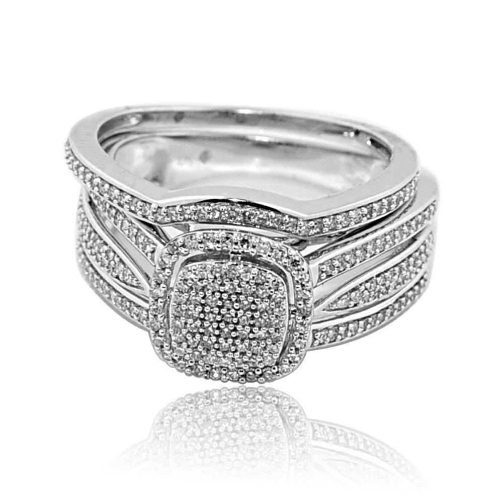 10K White Gold Diamond Bridal Wedding Ring Set 0.4cttww Cushion Shaped Top With Halo 2pc