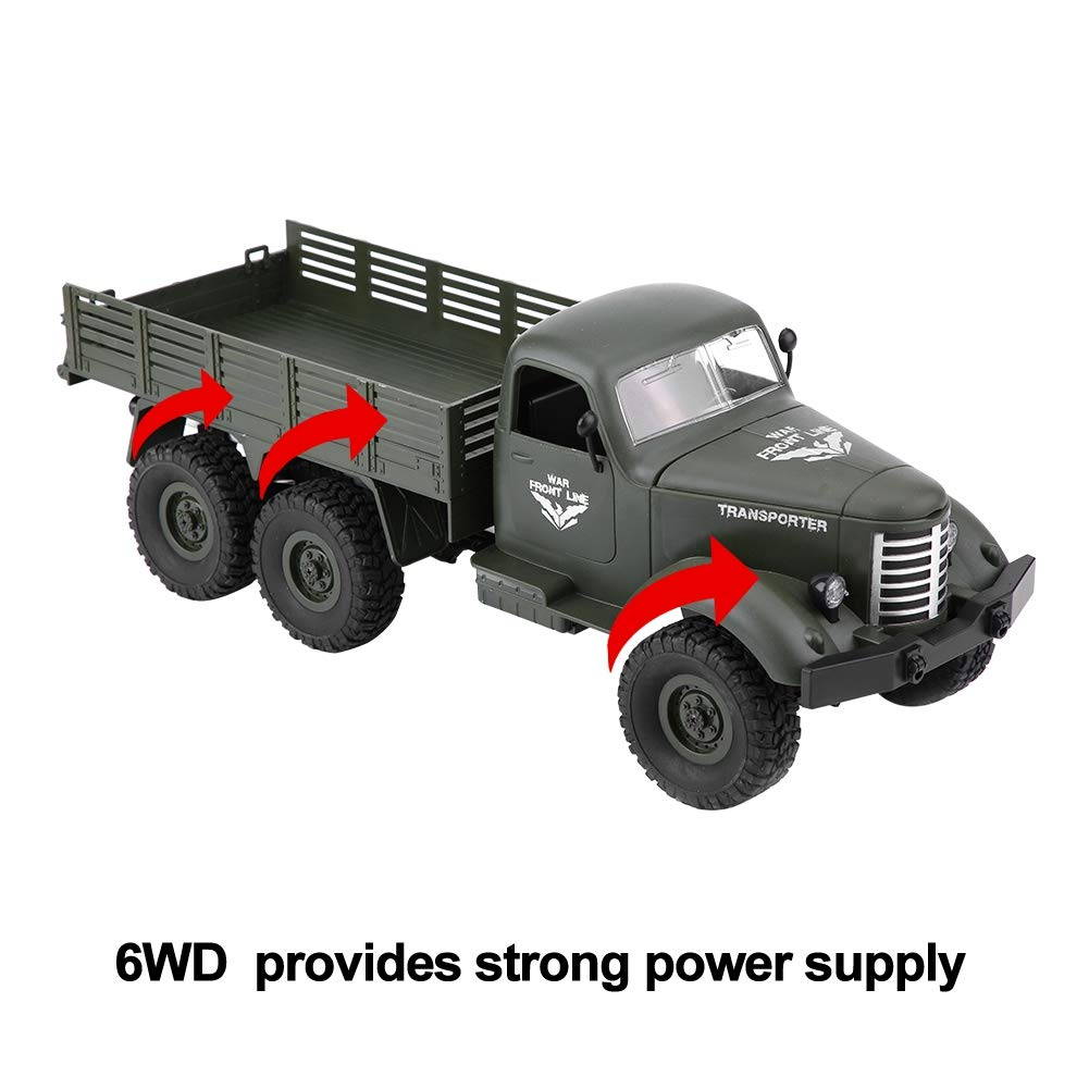 1/16 Modelo Control Remoto Tracción en Seis Ruedas Camion Militar RC Juguete Coche(Verde): Amazon.es: Juguetes y juegos