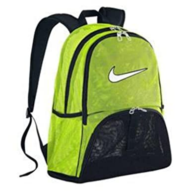 6525af31a5 NIKE Brasilia 6 EXTRA LARGE XL Mesh Laptop Gear Backpack School Book Bag  Mesh Sport Rucksack (Volt Black with White Swoosh Logo)  Amazon.co.uk   Clothing