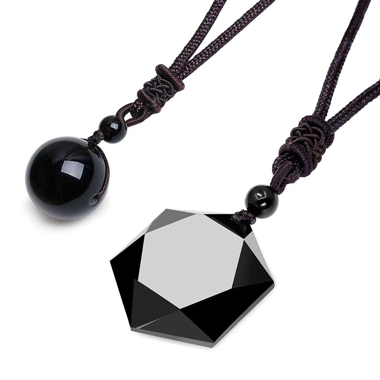 sailimue 2 Piezas de Collar de Cuentas de Piedras Naturales para Hombres Mujeres Collar de obsidiana//Ojos de Tigre Negro Ajustable