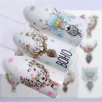 26a7cac3ae71 Amazon.com: Nail Sticker Wolf Deer Flower Water Transfer Decal Sliders For Nail  Art Decoration Tattoo Manicure Wraps Tip YZW-3074: Beauty