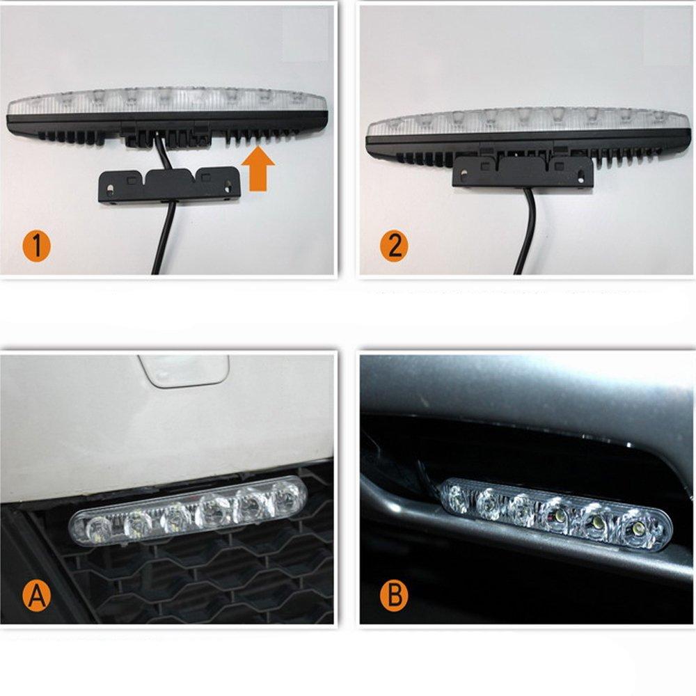 los Wasserdichte Auto High Power High Und Abblendlicht Aluminium LED Tagfahrlicht Mit Objektiv DC12v Xenon Wei/ß 1 satz DRL 2 Teile