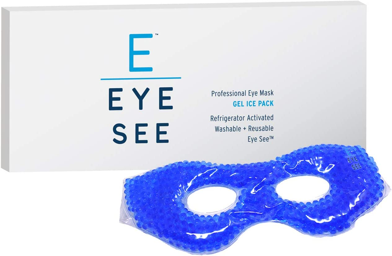 Eye See Cooling Gel Eye Mask - Cold Compress Ice Pack with Gel Beads - Great for Puffy Eyes, Dark Circles, Dry Eyes, Soothing Headaches - for Sleeping or for Migraine Therapy - Post Surgery Safe
