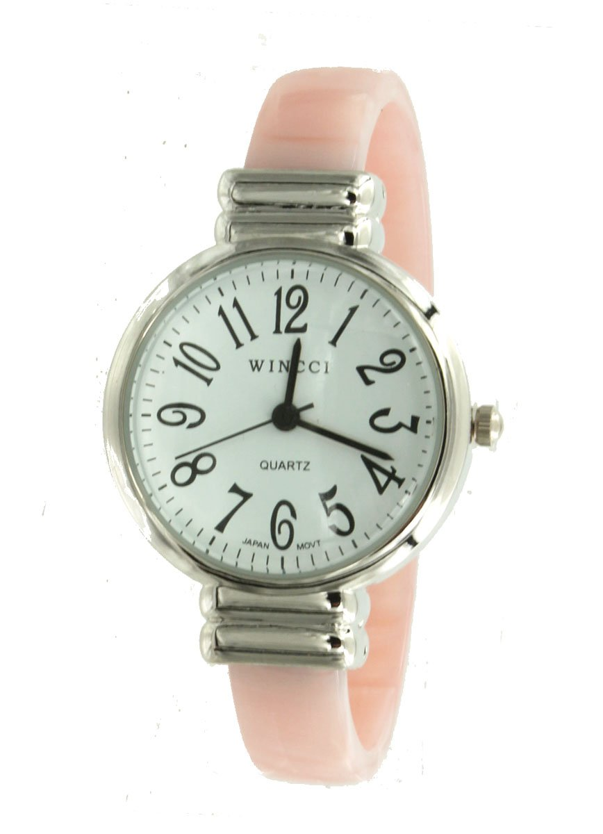 Women's Pink Silver Tone Bangle Cuff Watch