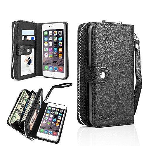 iPhone 7 Plus Wallet Case, Egrace iPhone 7 Plus Purse Case, Magnetic Detachable Zipper Case with Strap and Card Slot for iphone 7 Plus 5.5 Inch (Black)
