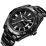 ALPS Men's Casual Calendar Black Stainless Steel Quartz Dress Watch