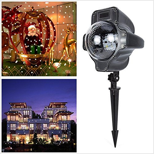 Bjour LED Christmas Projector Lights Moving Snowfall Outdoor/Indoor Waterproof Landscape Spotlights With Remote Control by Bjour