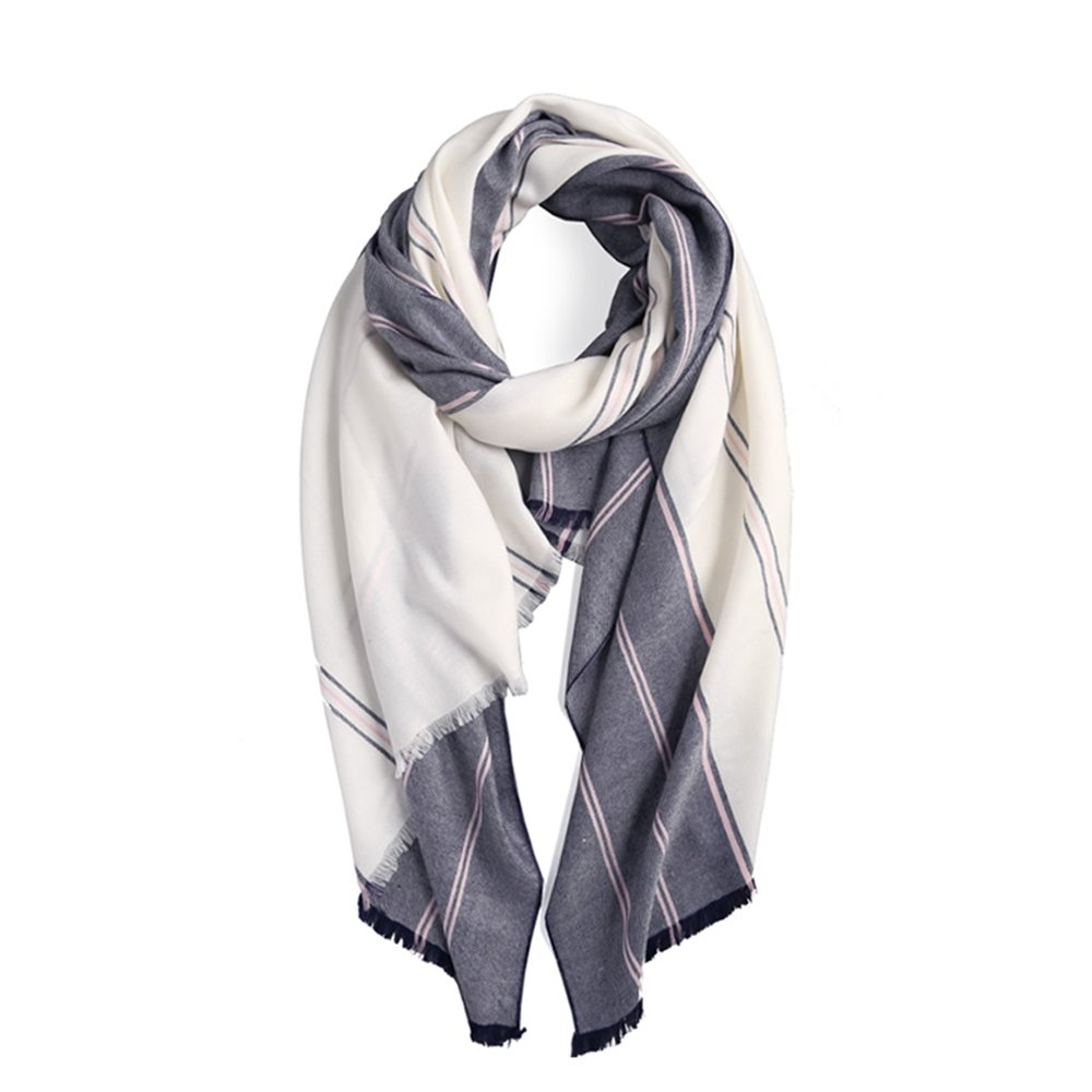LJHA Scarf Striped Lady Scarf Spring and Winter Long Long Shawl Scarf 200  90cm