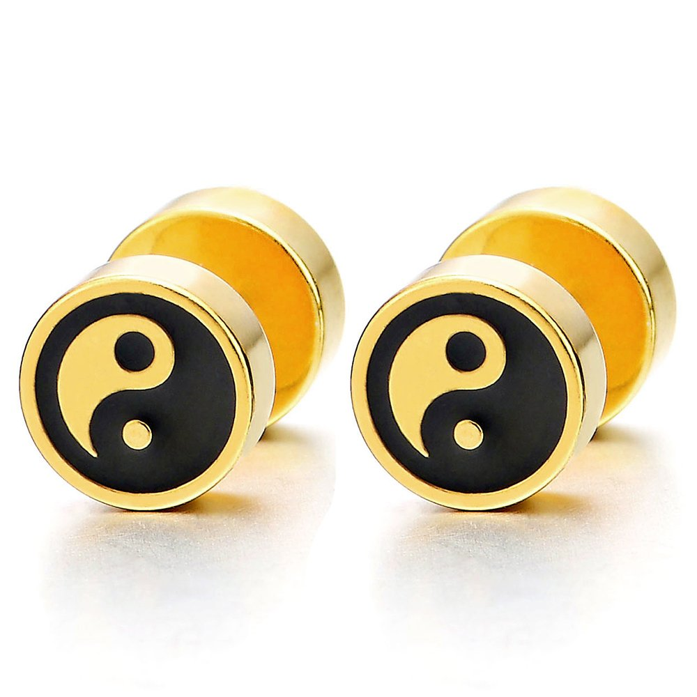 Mens Womens Gold Black Yin-yang Stud Earrings, Steel Illusion Tunnel Cheater Fake Ear Plugs Gauges COOLSTEELANDBEYOND ME-832-CA