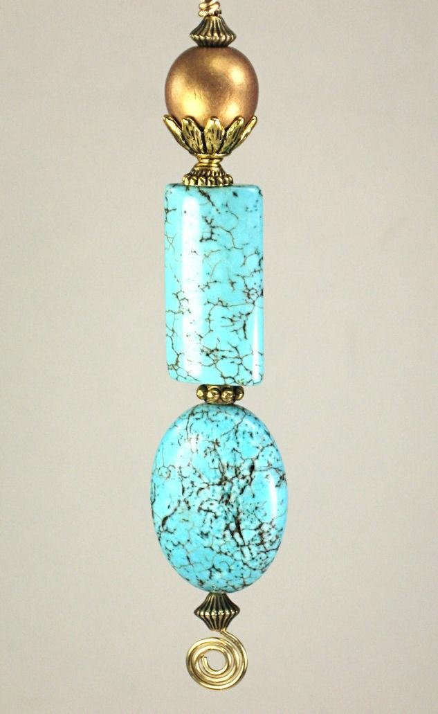 Grecian Roman Pompeii Style Ancient Verdigris Design in Turquoise Blue & Matte Gold Ceiling Fan Pull Chain - Lamp/Light Pull by Trace Ellements