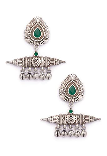 c503ab968 Buy Rubans Oxidised Silver Plated Dual Toned Contemporary Drop Earrings  Online at Low Prices in India | Amazon Jewellery Store - Amazon.in