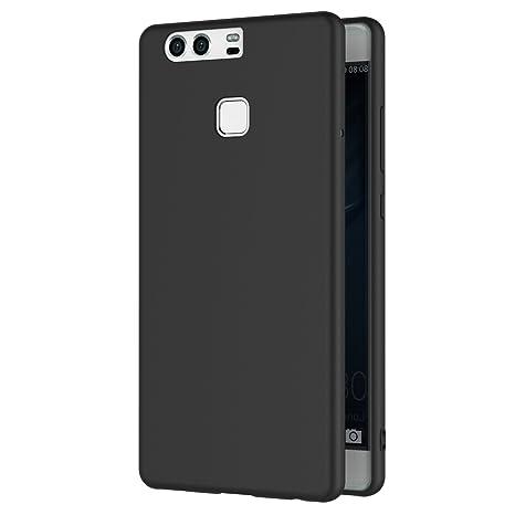 aspetto dettagliato e6031 615a8 Cover per Huawei P9, AICEK Cover P9 Nero Silicone Case Molle di TPU Sottile  Custodia per Huawei P9