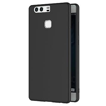 AICEK Funda Huawei P9, Negro Silicona Fundas para P9 Carcasa Huawei P9 Negro Silicona Funda Case