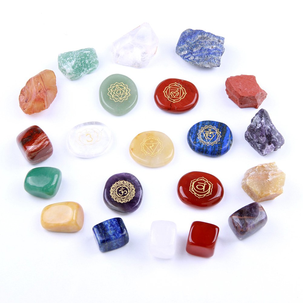 Chakra Stones Reiki Healing Crystal With Engraved Chakra Symbols Holistic Polished Stones, Natural Rough Raw Stone, Chakra Tumbled Stones Polished Crystals Set of 21