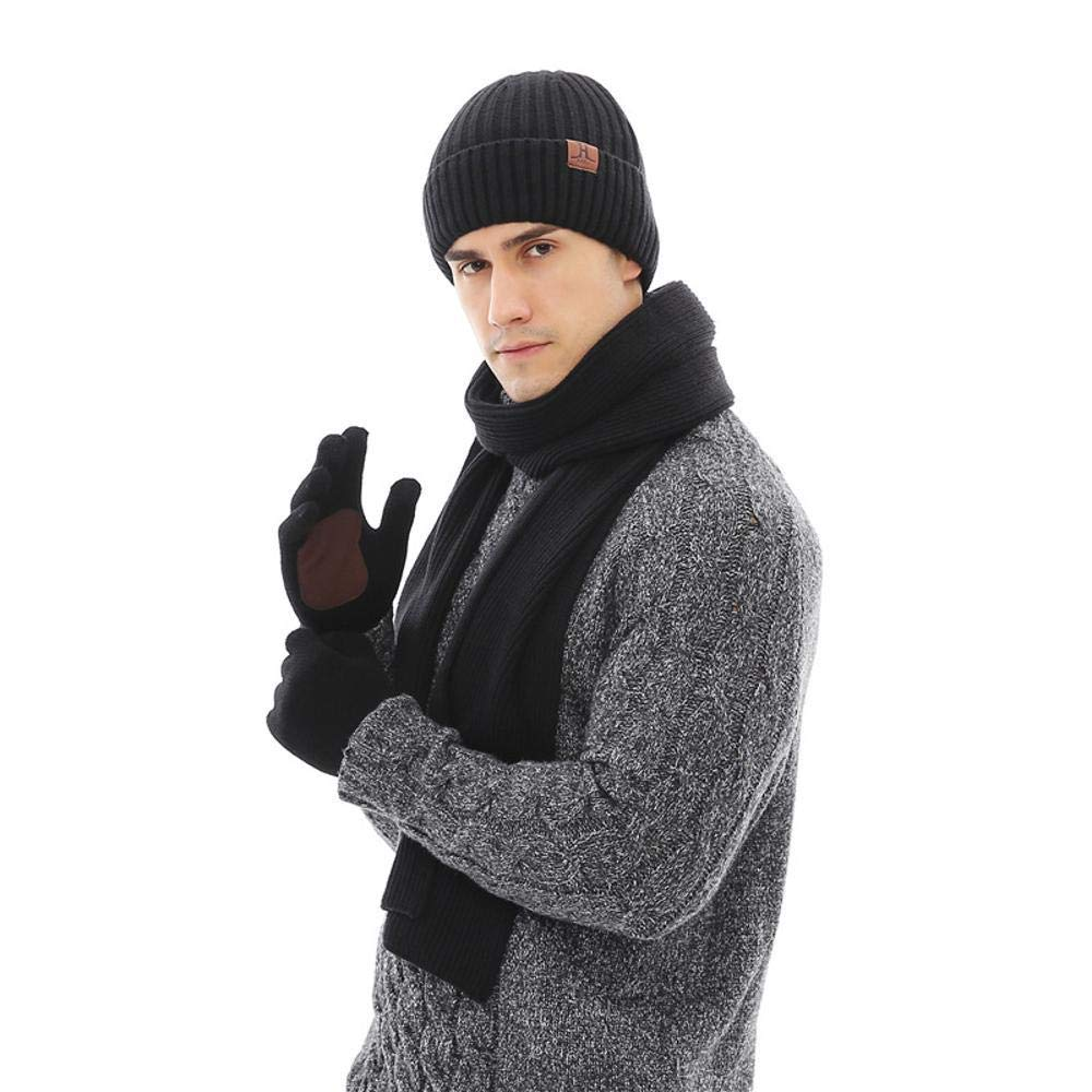 LXIANGP Herren-Manschetten-Mü tze Schal Handschuhe dreiteilige warme Faden Herbst und Winter Zubehö r