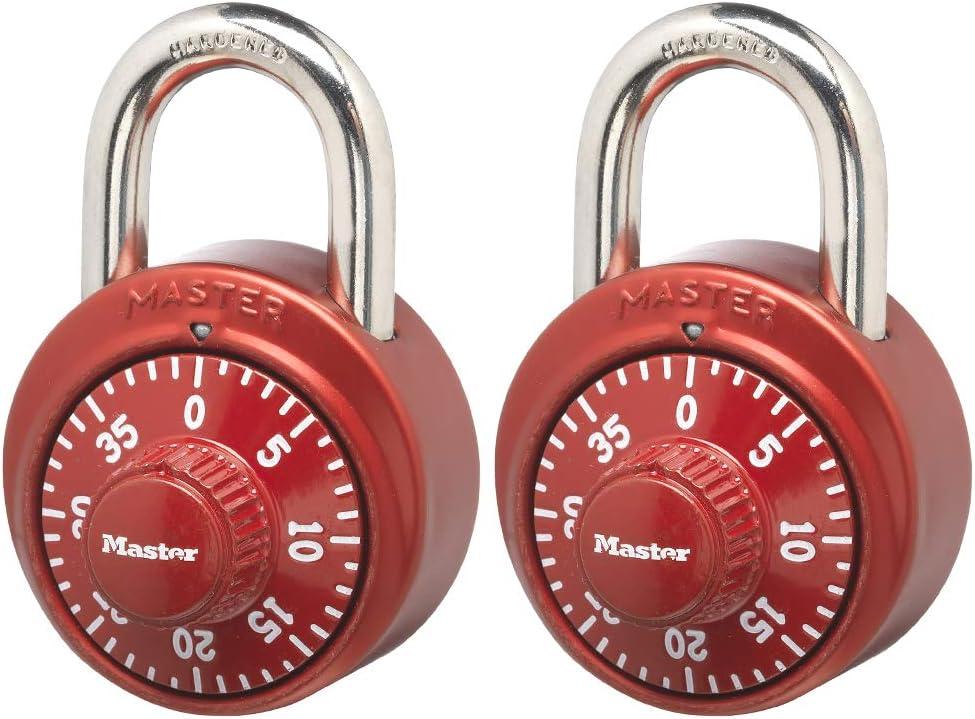 Master Lock 1530T Locker Lock Combination Padlock, 2 Pack, Assorted Colors