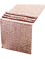 AMAZLINEN Sequin Table Runners ROSE GOLD 12 X 108 Inch Glitter ROSE GOLD Table Runner-ROSE GOLD Party Supplies Fabric Decorations For Wedding Birthday Baby Shower