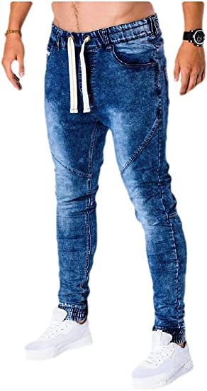 Tootess Men's Washed Slim Middle Waist Tapered Drawstring Pants with Pockets
