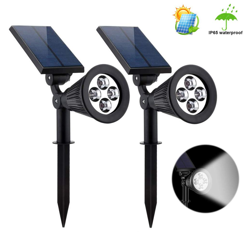Ysding Solar Lights Outdoor Spotlights, Upgraded 2-in-1 Waterproof Landscape Spot Lights Adjustable Wall Light,Lighting from Dusk to Dawn for Yard Garden Driveway Pathway Walkway-Cool White (2 Pack)