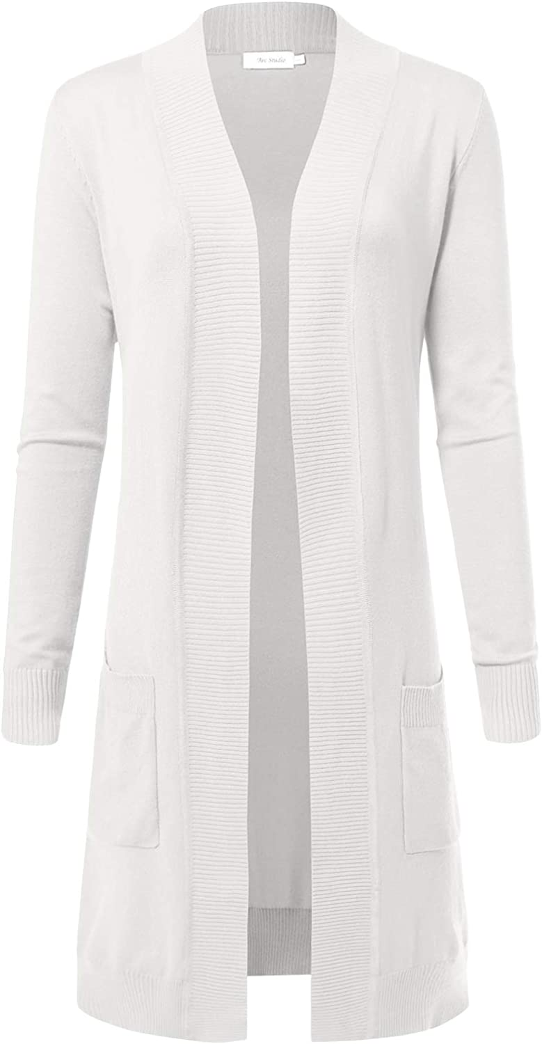 ARC Studio Womens Solid Soft Stretch Longline Long Sleeve Open Front Cardigan