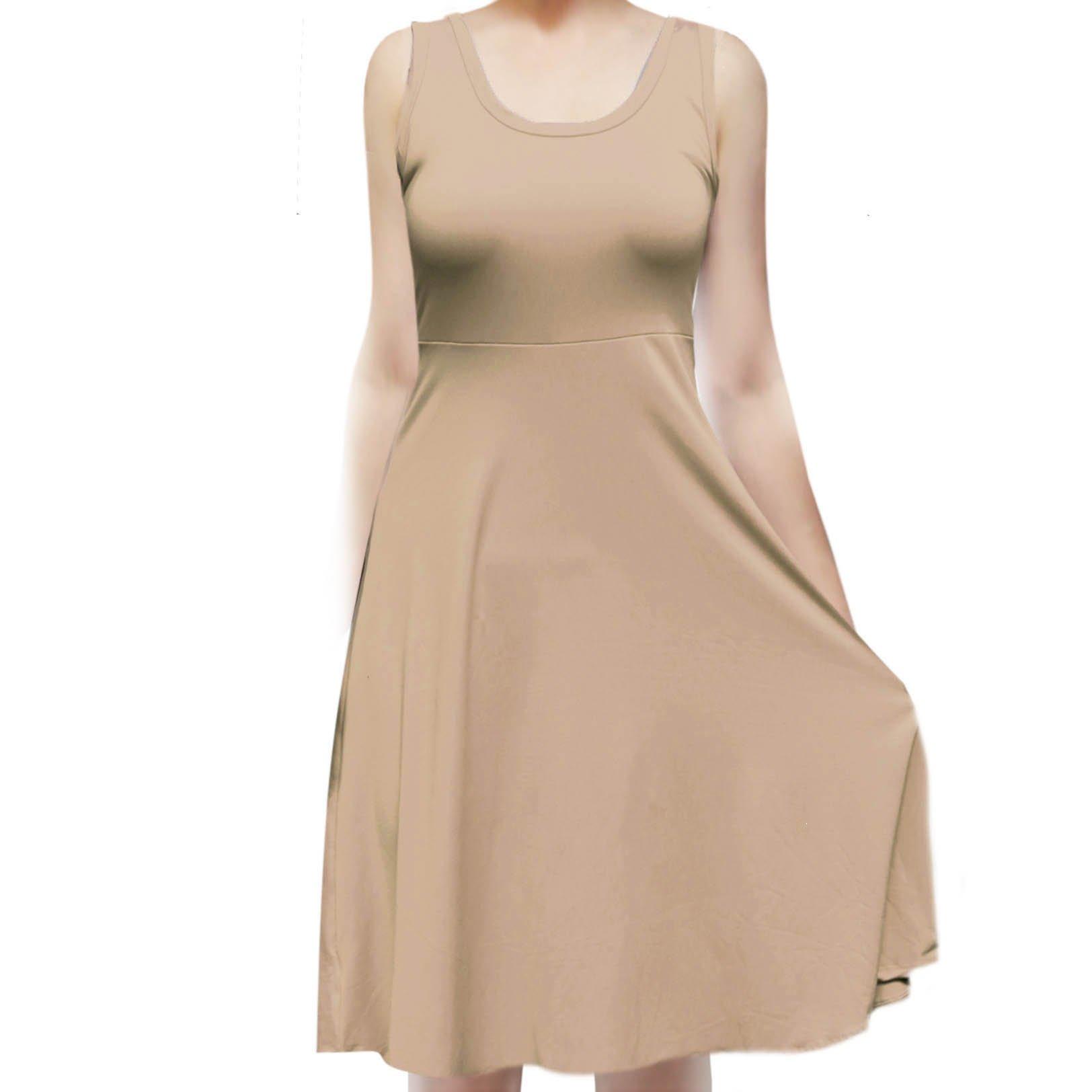 SMT Women's Sleeveless Flowy Midi Summer Beach A Line Tank Dress Tan Medium