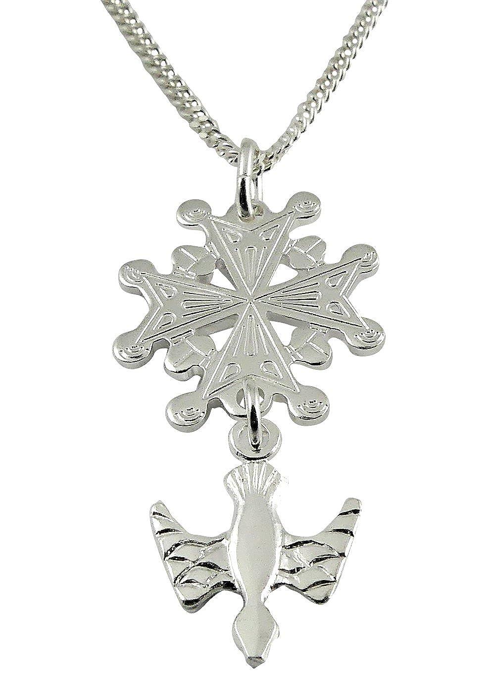 niceandnoble Chaîne 45cm Avec Pendentif Croix Croix Huguenote en argent sterling 925 5192-Silber