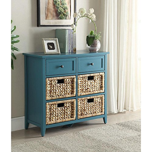 (Major-Q MQ-97418 Console Table with 6 Drawers for Dining/Kitchen/Living Room, Rectangular, Wood Rustic and Teal Finish, 30 x 13 x 28, 9097418)