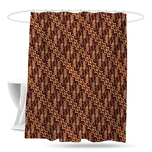 xuyuanfen Shower Curtain with Hooks Brown Batik Parang Barong Diagonal Pattern Indonesian Culture and Art Design Shower Curtains in Bath 70in×70in Brown Apricot Caramel