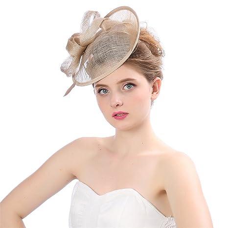 Topgrowth Cappello da Sposa Donna Fascinator Centesimo Cappello a Rete  Nastri Piume Cappello da Festa ( bb138a756c0f