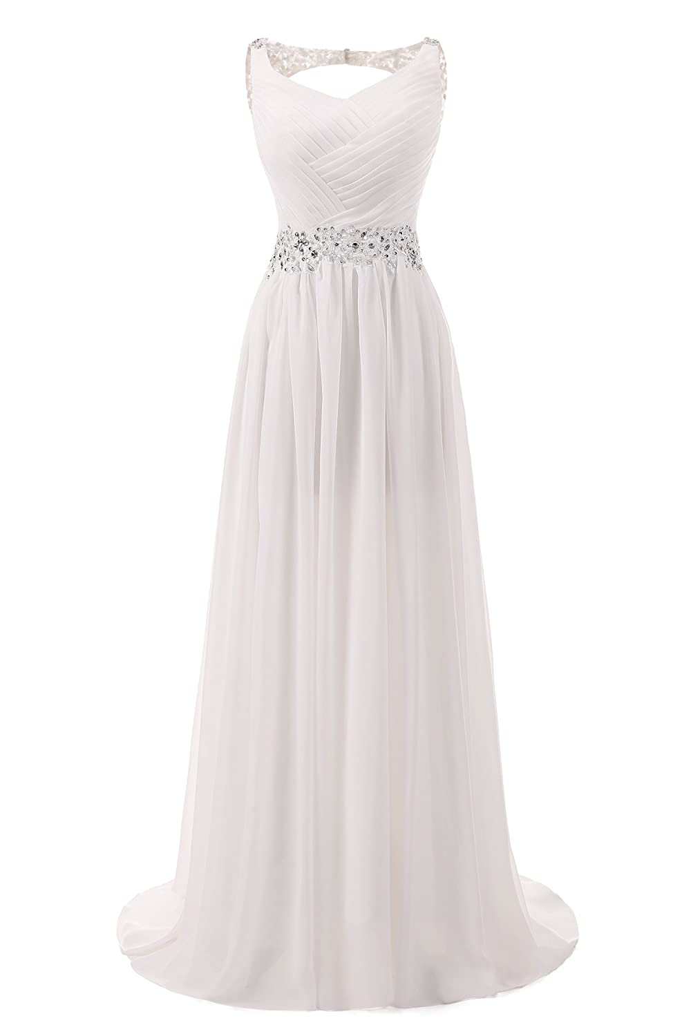 AbaoWedding Women's Chiffon V Neck Shoulder Straps Long Wedding Evening Dress