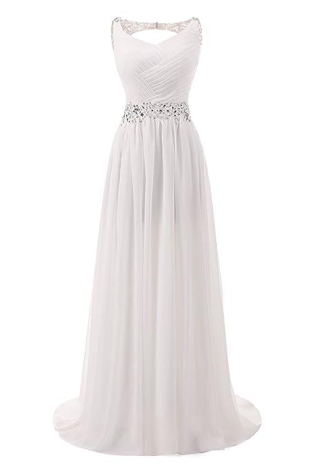 Review AbaoWedding Women's Chiffon V Neck Shoulder Straps Long Wedding Evening Dress
