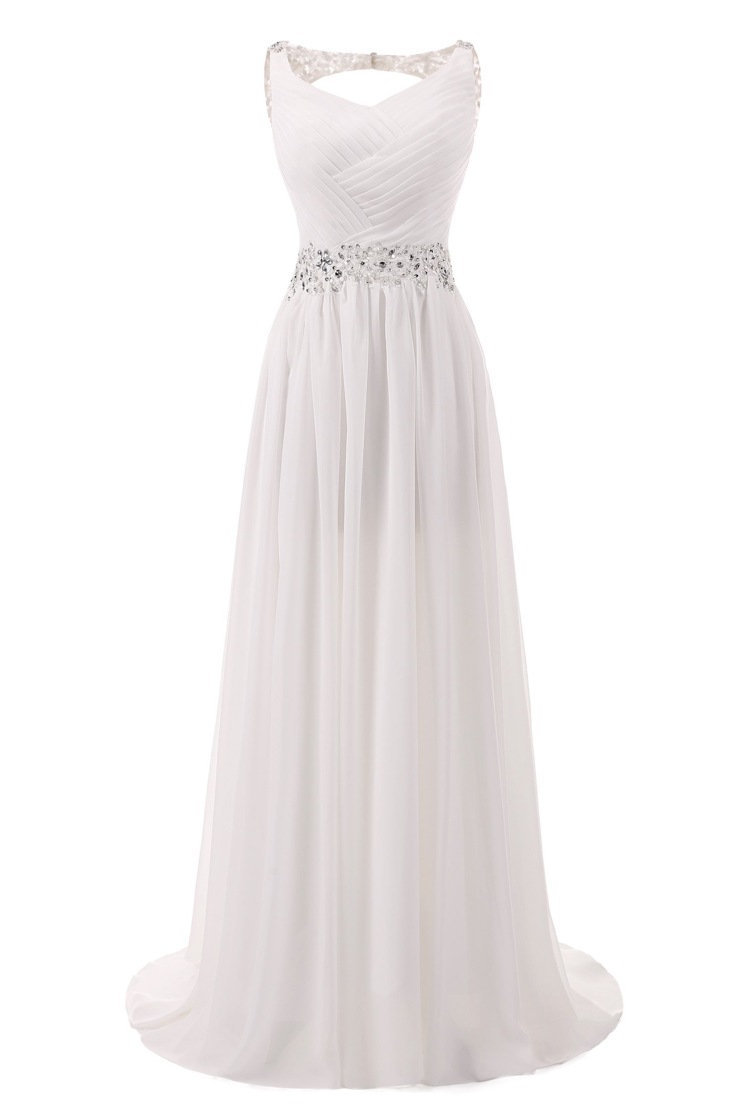 AbaoWedding Women's Chiffon V Neck Shoulder Straps Long Wedding Evening Dress Size 16 Ivory