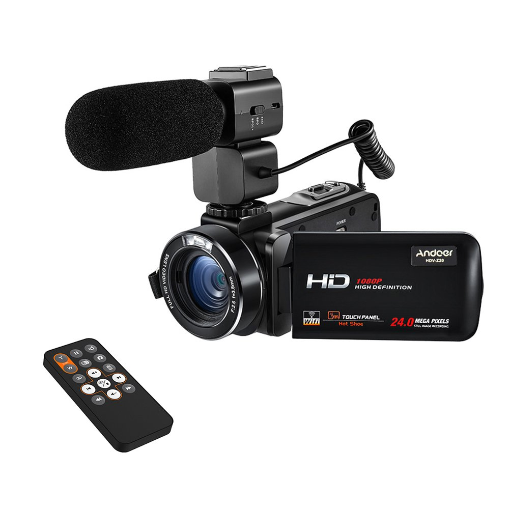 Andoer 1080P 30fps FHD Digital Video Camera with External Microphone 3.0' Rotatable LCD Touchscreen WIFI Camcorder 16X Digital Zoom