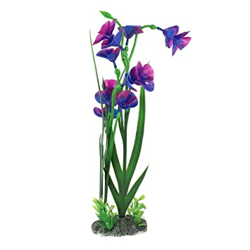 Emulational púrpura Flores hoja verde plástico plantas para acuario: Amazon.es: Productos para mascotas