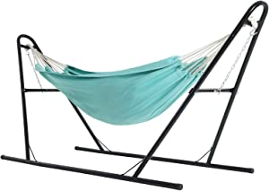 SONGMICS Hammock with Stand, 82.7 x 59.1 Inches, Sturdy Double-Rail Metal Frame with Extended Feet, Max. Load 550 lb, for Garden, Outdoor,Black Stand and Turquoise Hammock UGHS11BU