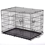"24"" Pet Kennel Cat Dog Folding Steel Crate Playpen Wire Metal Cage W/Divider DC"