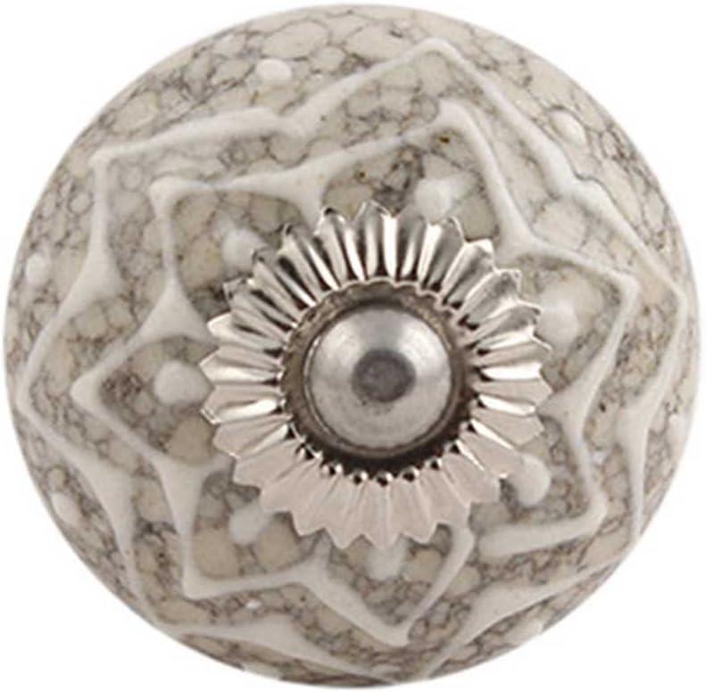 IndianShelf Handcrafted 16 Pieces Embossed Crackle Cream Vintage Ceramic Knobs for Cabinets Kitchen Furniture Pulls