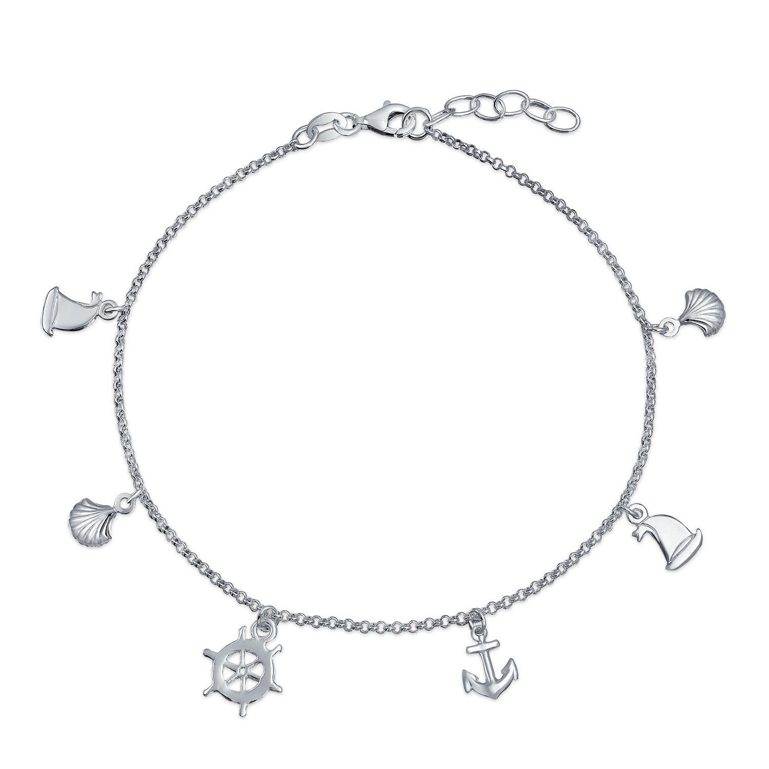 Silver Seashell Anchor Sailboat Nautical Charm Anklet 9in