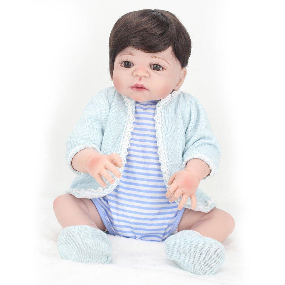 LINAG Muñeca Renacida Bebé Vinilo Silicona Suave Realista Fashion Juguetes Toque Cumpleaños Niña Lifelike Jugar Doll Casa Regalo Lindo Educación Temprana 55cm Doll-61126