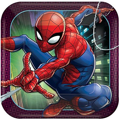 (Amscan Spider-Man Webbed Wonder Square Plates, 9
