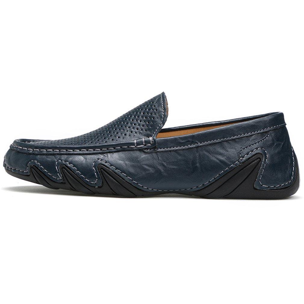Bridfa Zapatos de cuero genuino para hombres Mocasines casuales de los hombres Ahueca hacia fuera los zapatos de conducción respirables de verano Slip On Moccasins 6.5|Summer Blue