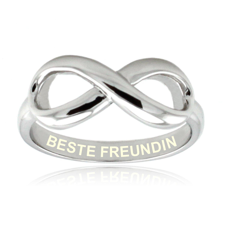 Sterling Silber Beste Freundin mit Gravur Unendlichkeit Ring