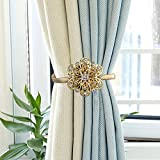 Nanami Chic One Pair Curtain Clips Attraction Appliance Curtain Buckle Magnetic Tieback Creative Diamond Curtain Bind (Gold)